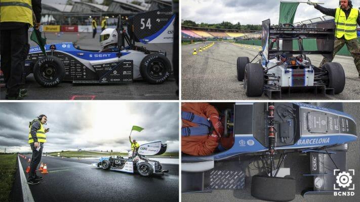 Coche de carreras de fórmula ETSEIB Motorsport en la línea de salida.