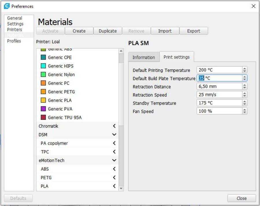 Configurar Materiales Cura 2